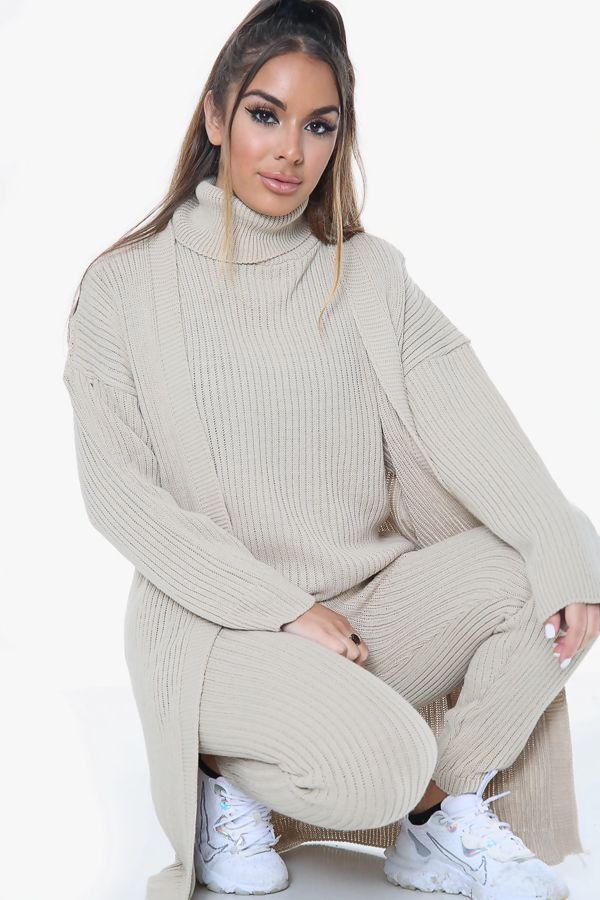 Knitted Cardigan 3 Piece Beige Lounge Set