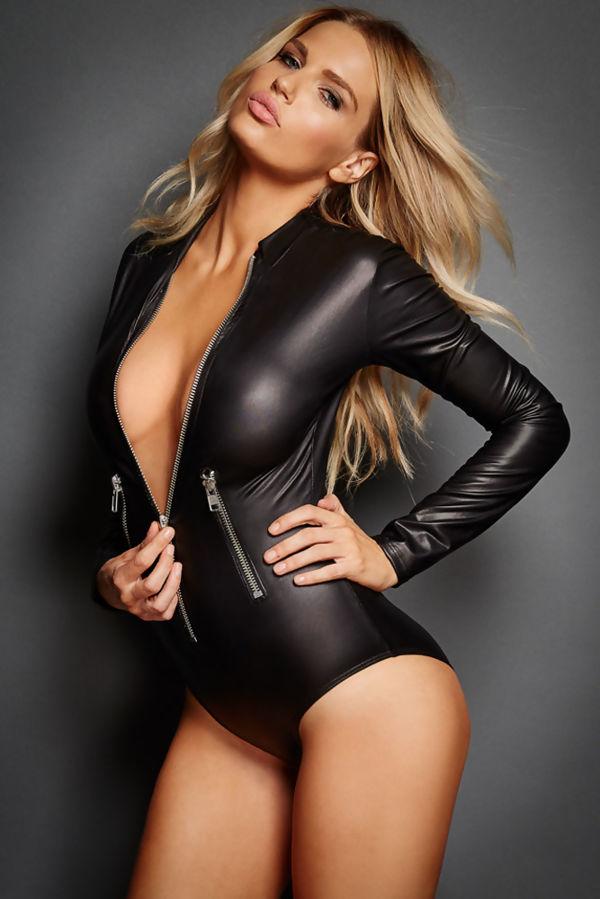 Leathery Zip Black Bodysuit