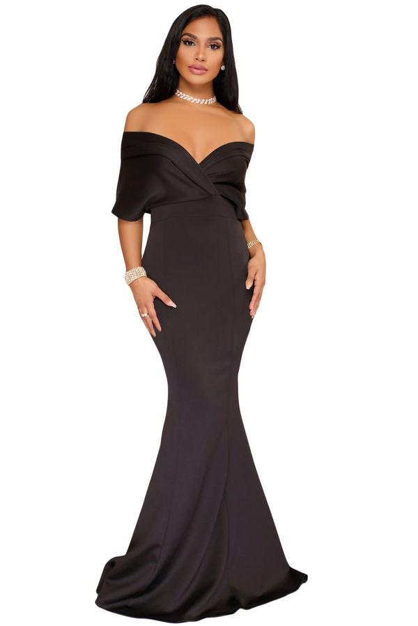 6f834c0a16 Juliet Love Black Offshoulder Maxi Dress