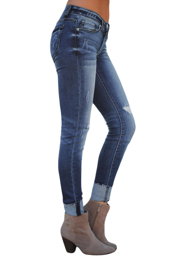 Blue Ripped Skinny Stretch Jeans