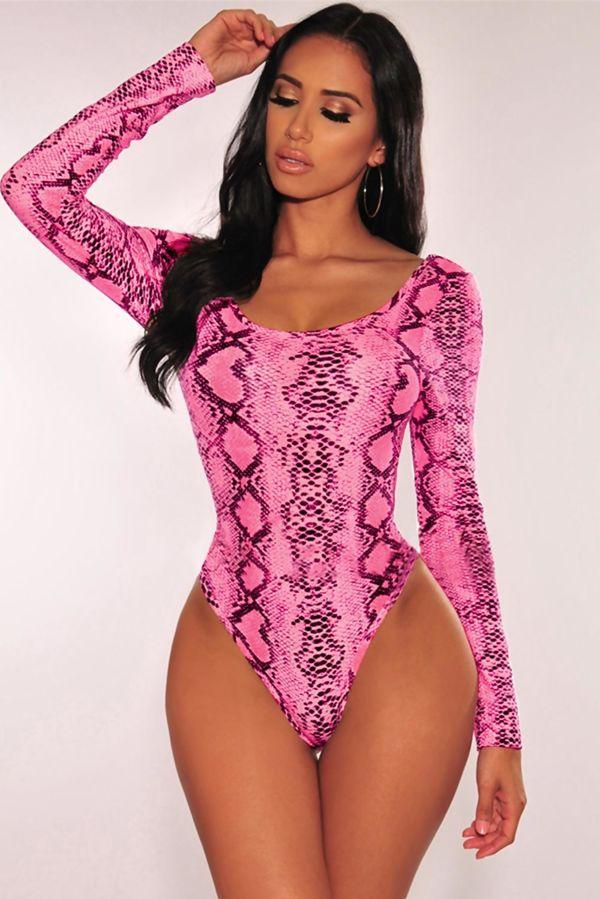 Pink Snake Print Bodysuit