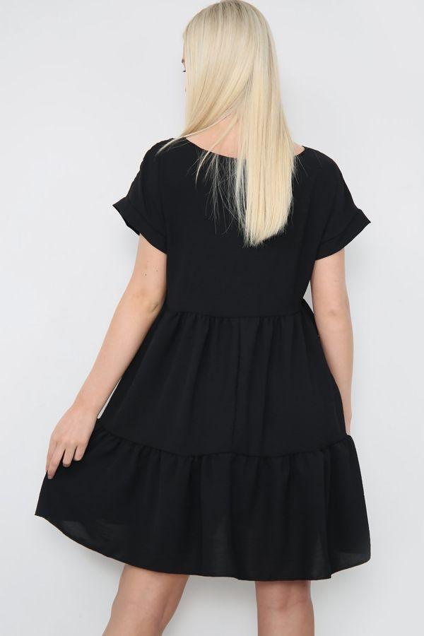 Black Mini Smock Dress