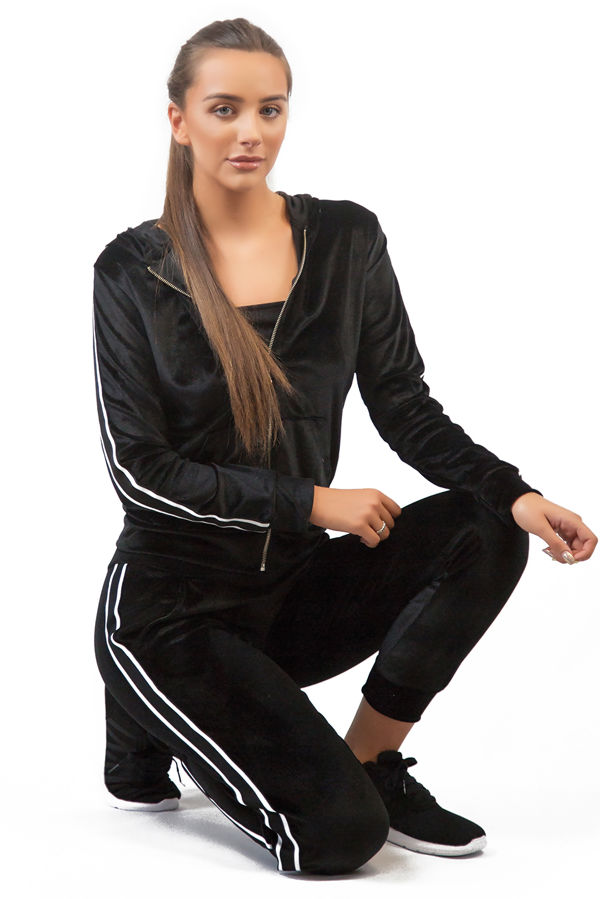 Black Velvet Loungewear Set