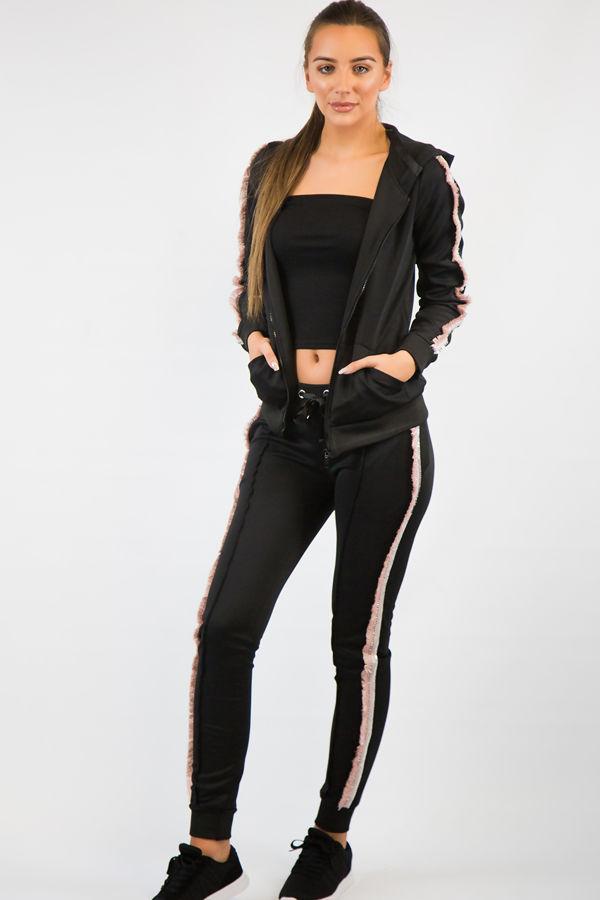 Pink Frill Black Loungewear Set