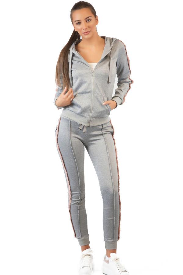 Pink Frill Grey Loungewear Set