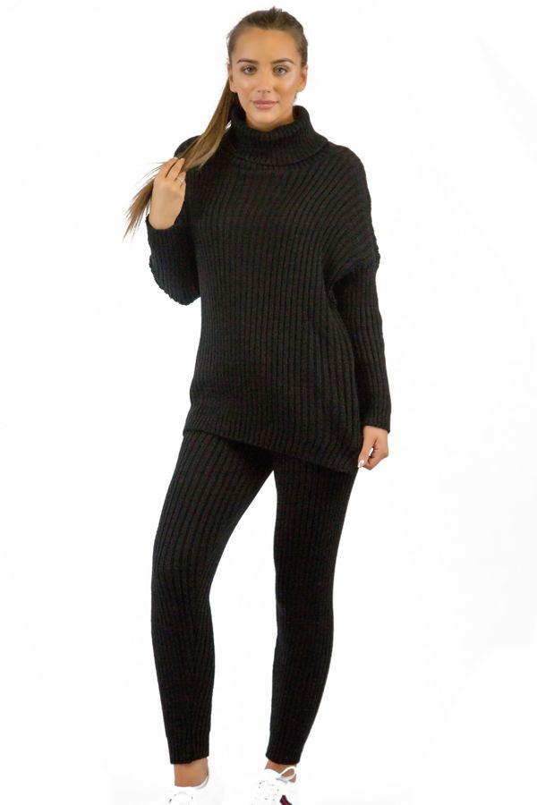 Black Knitted Long Loungewear Set