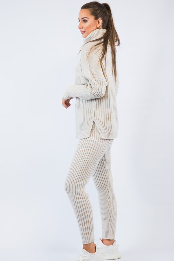 Cream Knitted Long Loungwear Set