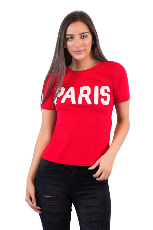 Paris Red T Shirt White Slogan