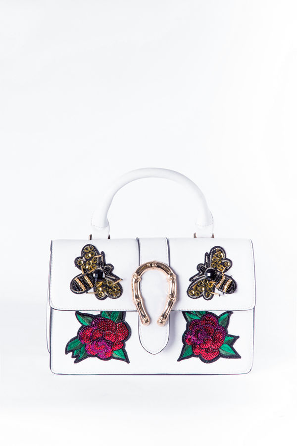 White floral sequin handbag