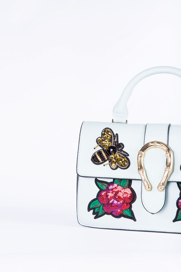 Turquoise floral sequin hand bag