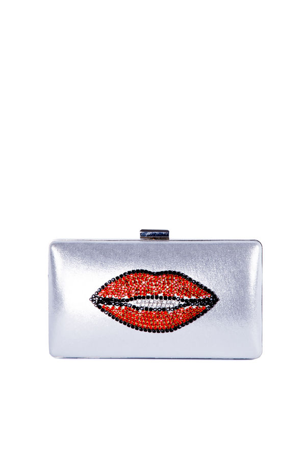 Silver Shine Kiss diamanté Clutch Bag