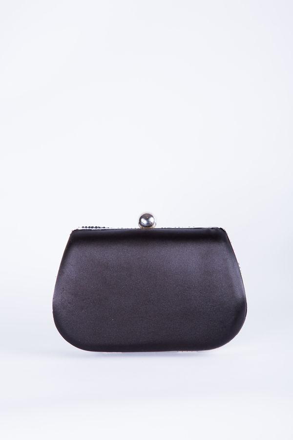 Black Diamanté oval Clutch bag