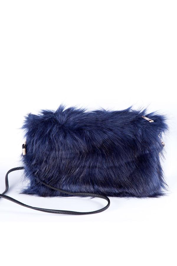 Blue feather shoulder clutch bag