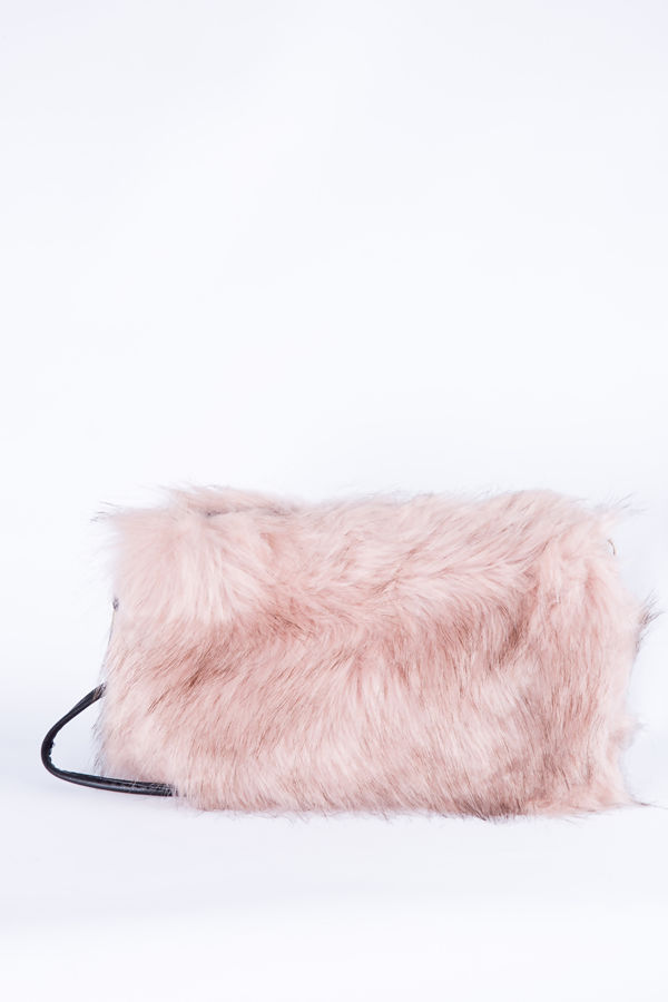 Pink feather shoulder clutch bag