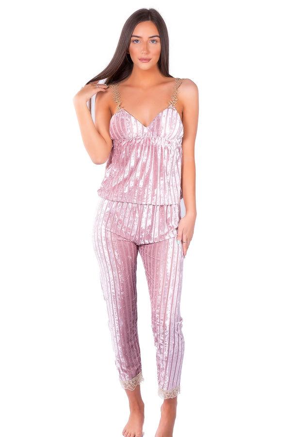 Pink Velvet Pyjama Set