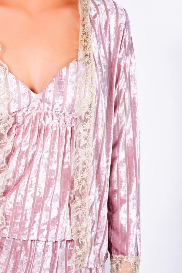 Pink velvet robe