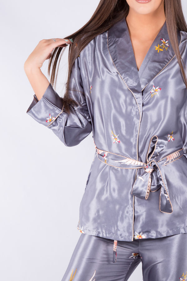 Grey Birds Pyjama Wrap Gown