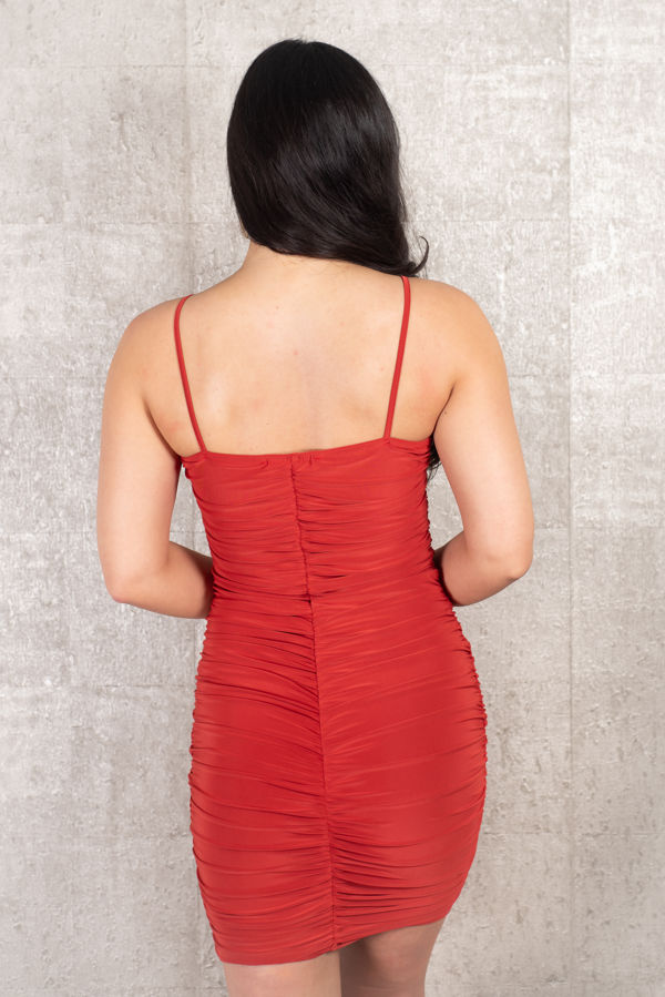 Rushed Rust Red Back Dress