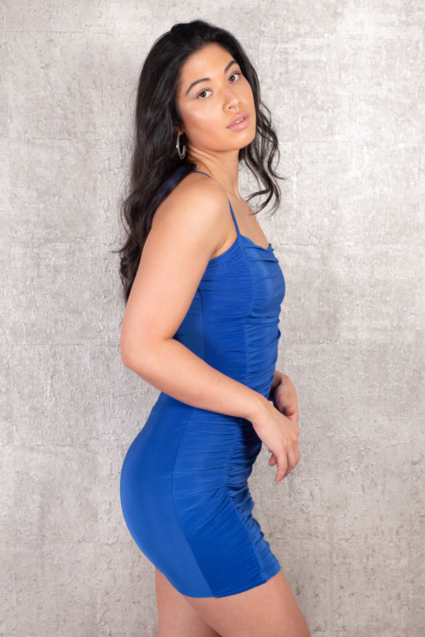 Blue Rushed Dress
