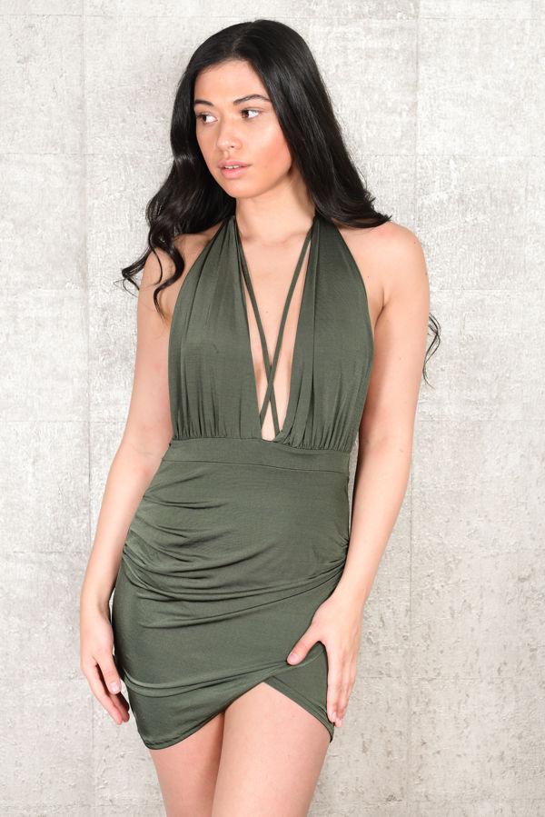 Khaki Backless Dress