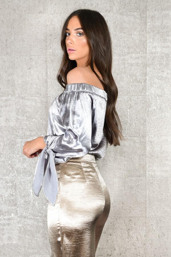 Space Girl Silver Satin Bardot Tie Sleeve Top