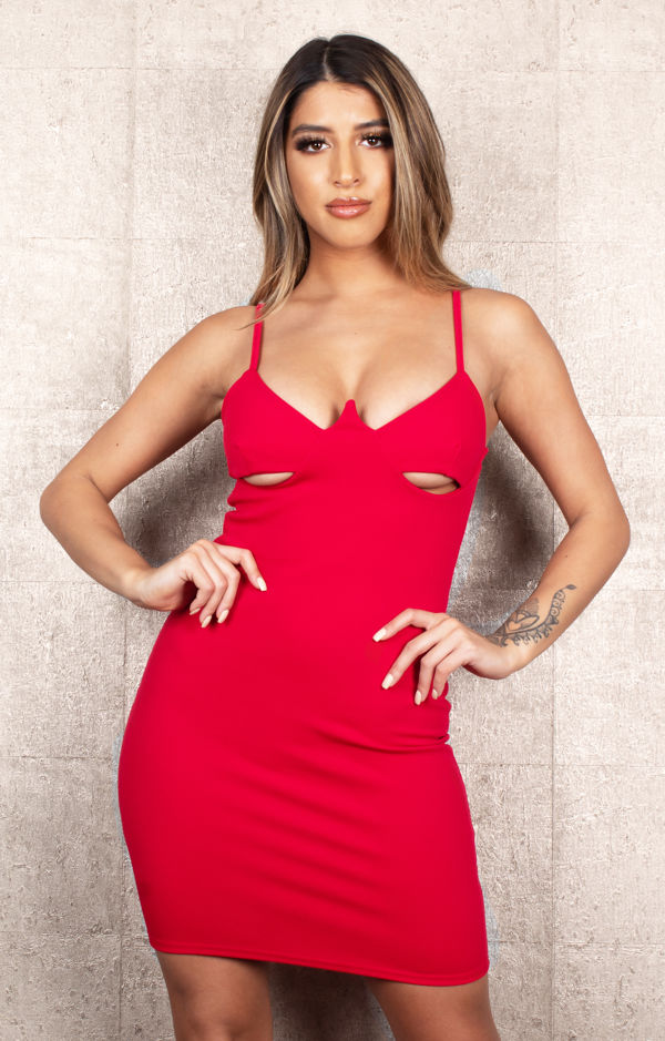 Cut Out Red Dress