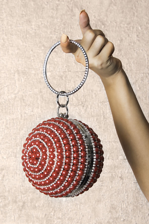 Sphere Red Pearl Clutch
