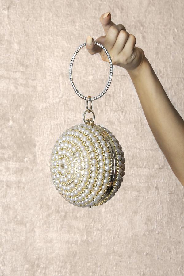 Sphere Blue Pearl Clutch