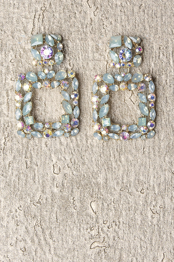 Turquoise Diamante Square Earrings