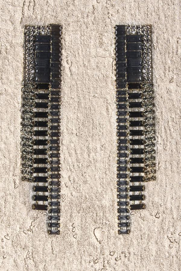Long Diamanté Earrings Black