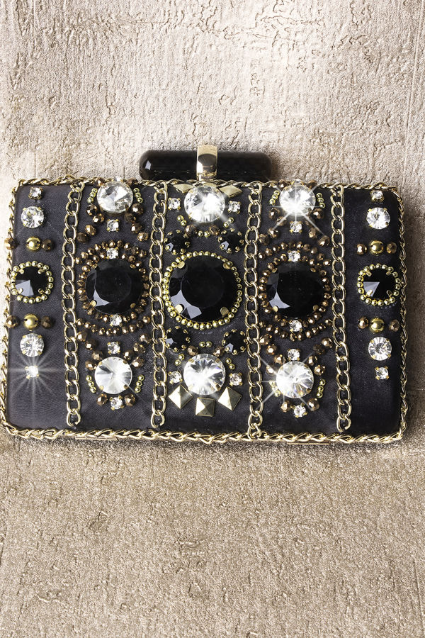 Luxury Dark Stone Clutch
